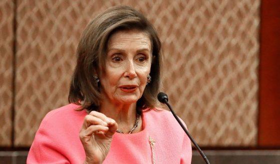 Speaker of the House Nancy Pelosi speaks at the U.S. Capitol Building on Thursday in Washington, D.C.