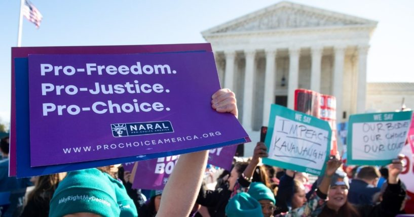 Pro-choice activists protest during a demonstration outside the U.S. Supreme Court in Washington, D.C., on March 4, 2020.