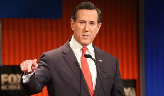 Then-presidential candidate Rick Santorum participates in the Fox Business Network Republican presidential debate at the North Charleston Coliseum and Performing Arts Center on Jan. 14, 2016, in North Charleston, South Carolina.