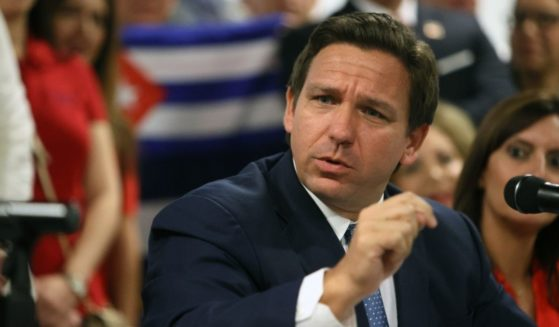 Florida Gov. Ron DeSantis takes part in a roundtable discussion about the uprising in Cuba at the American Museum of the Cuba Diaspora on July 13, 2021, in Miami.