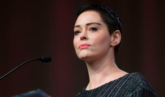 Actress Rose McGowan gives remarks at the Women's Convention in Detroit on Oct. 27, 2017.