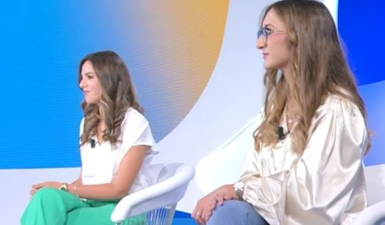 Melissa Fodera, left, and Caterina Alagna appear on Italian TV to promote the movie about their story of being switched at birth.