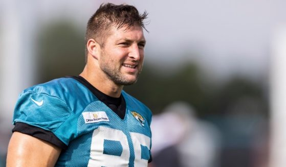Tim Tebow #85 of the Jacksonville Jaguars looks on during Training Camp at TIAA Bank Field on July 30, 2021, in Jacksonville, Florida.