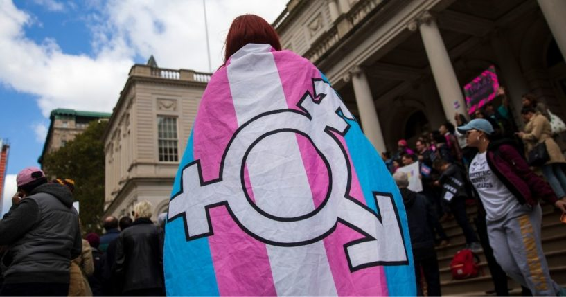 Transgender activists hold a demonstration in front of New York City Hall on Oct. 24, 2018, in New York City.