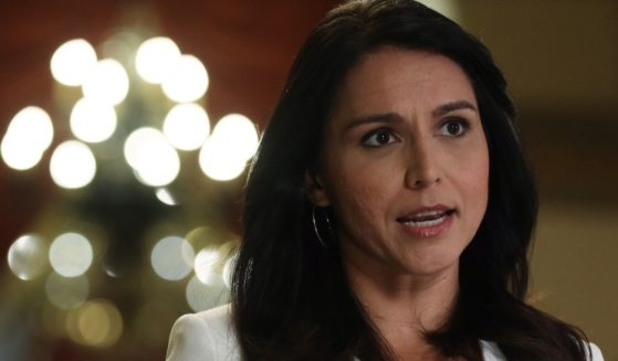 Former Democratic Rep. Tulsi Gabbard participates in a TV interview at the U.S. Capitol on Jan. 9, 2020, in Washington, D.C.