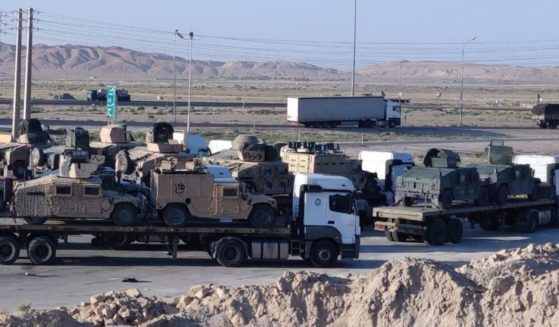 The photo above reportedly shows U.S. military equipment being transported across Iran.