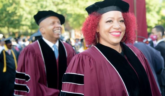 Author Nikole Hannah-Jones is seen at the 137th Commencement at Morehouse College on May 16, 2021 in Atlanta, Georgia.