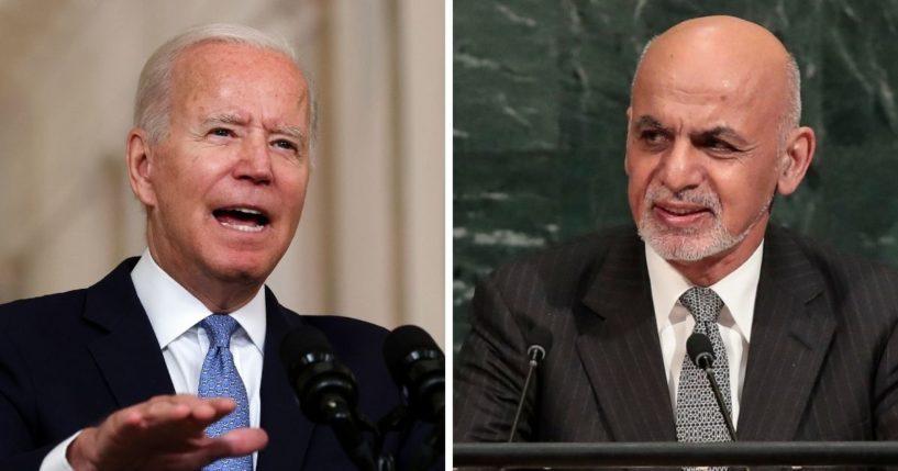 President Joe Biden, left; and former Afghan President Ashraf Ghani, right.