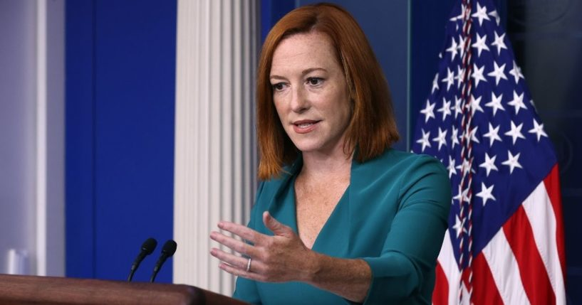 White House Press Secretary Jen Psaki fields questions Wednesday during the daily news briefing at the White House.