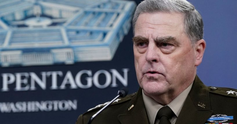 Army Gen. Mark Milley, chairman of the Joint Chiefs of Staff, speaks during a media briefing at the Pentagon on Wednesday with Secretary of Defense Lloyd Austin.
