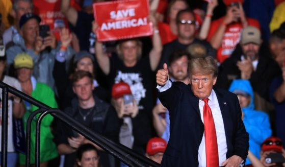 Former President Donald Trump is seen at a rally in Cullman, Alabama, on Aug. 21, 2021.