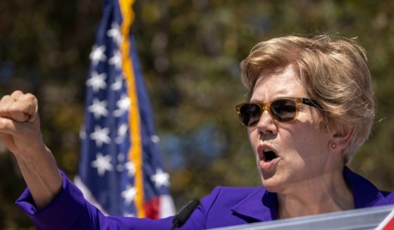 "Sen. Elizabeth Warren speaks at a ""Stop the Republican Recall"" rally at Culver City High School in Culver City, California, on Sept. 4, 2021."