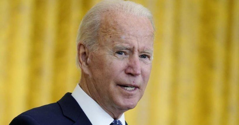 President Joe Biden is seen speaking from the White House's East Room on Wednesday.