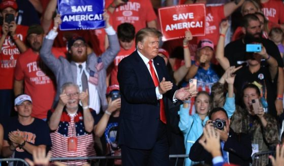 """Former President Donald Trump speaks at a """"Save America"""" rally at York Family Farms in Cullman, Alabama, on Aug. 21."""