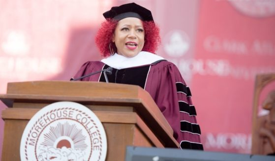 Author Nikole Hannah-Jones speaks during commencement at Morehouse College in Atlanta on May 16, 2021.