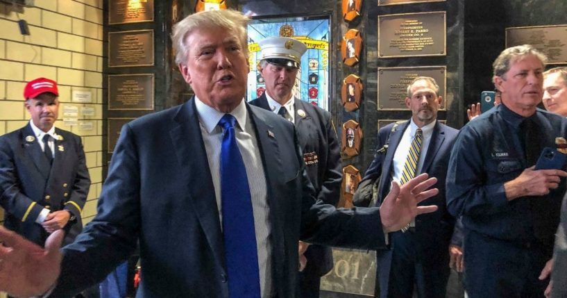 Former President Donald Trump visits the Engine Co. 8 firehouse in Manhattan on Saturday.