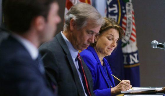 Sen. Amy Klobuchar is seen at a U.S. Senate Rules Committee Hearing in Atlanta, Georgia, on July 19, 2021.