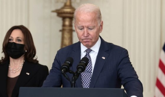 President Joe Biden delivers remarks from the East Room of the White House on Aug. 20, 2021.