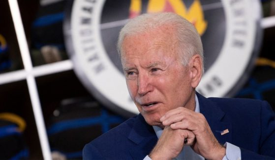 President Joe Biden makes an appearance Monday at a briefing at the National Interagency Fire Center at Idaho's Boise Airport.
