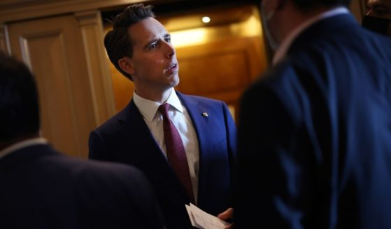 Sen. Josh Hawley is seen talking to reporters at the U.S. Capitol in Washington, D.C., on Tuesday.