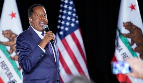 Republican conservative radio show host Larry Elder speaks to supporters in Costa Mesa, California, after California Gov. Gavin Newsom defeated a recall effort Tuesday.