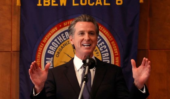 California Gov. Gavin Newsom speaks at the IBEW Local 6 union hall in San Francisco on Tuesday.