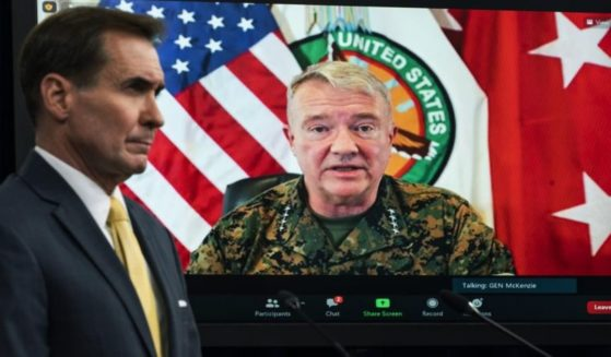 Gen. Frank McKenzie speaks from from MacDill Air Force Base, in Tampa, Florida, during a virtual briefing with Pentagon spokesperson John Kirby on Aug. 30.