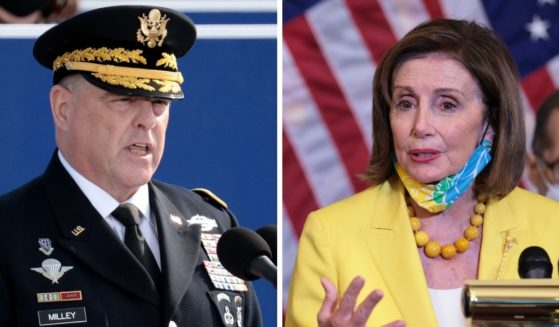 Army Gen. Mark Milley, left; House Speaker Nancy Pelosi, right.