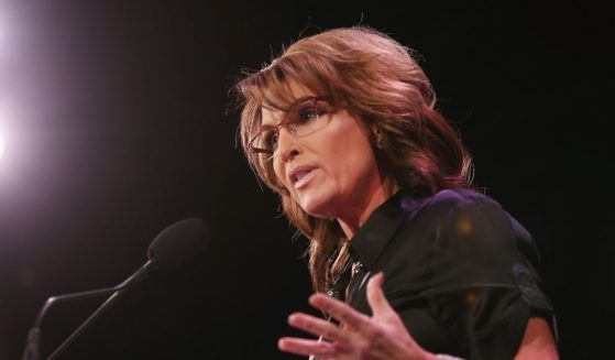 Former Alaska Gov. Sarah Palin, the 2008 GOP candidate for vice president, is pictured in a 2015 file photo from the Iowa Freedom Summit in Des Moines