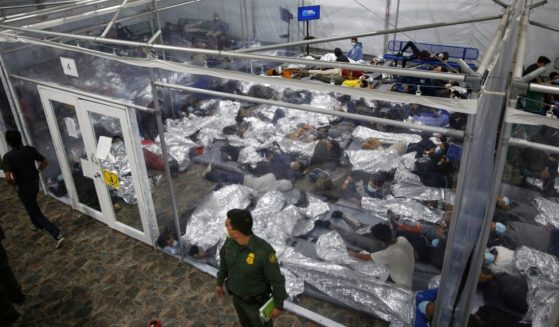 An crowded shelter for minors who've entered the country illegally is pictured in a March file photo.