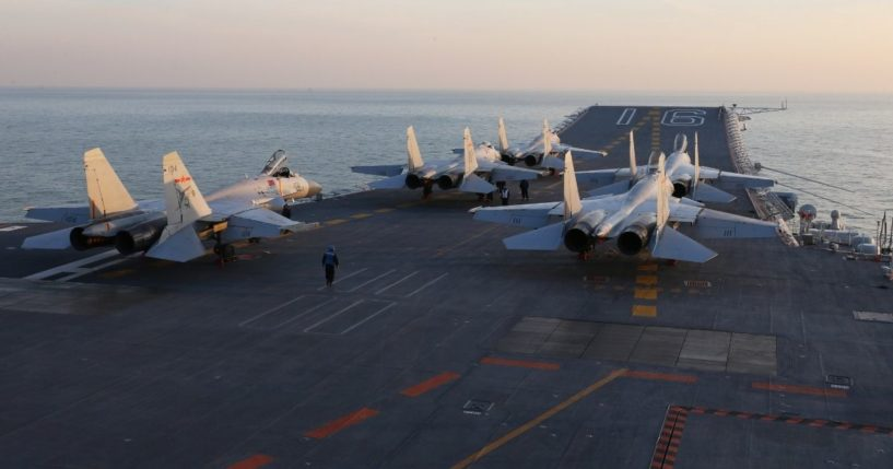 Chinese fighter jets queue aboardthe Laoningaircraft carrier in a 2016 file photo.