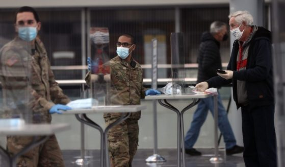 Members of New York's National Guard staff a COVID-19 vaccination site at thecity's Javitz Center in Manhattan in January.