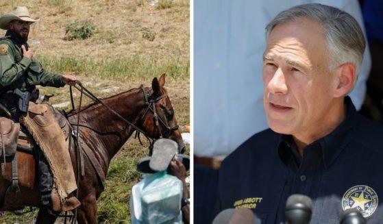 Horseback mounted Border Patrol agent, left; and Texas Gov. Greg Abbott, right.