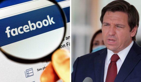 Facebook page, left; Florida Gov. Ron DeSantis, right.