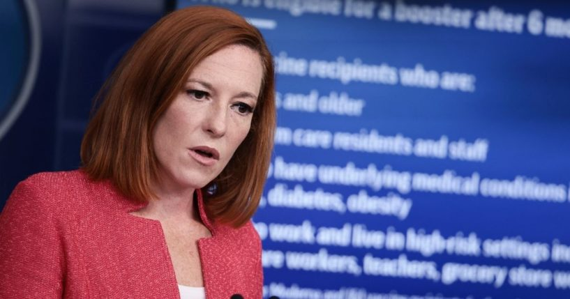 White House Press Secretary Jen Psaki fields questions at a White House press briefing on Monday.
