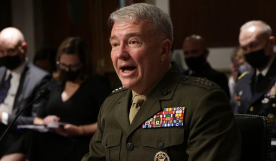 Commander of U.S. Central Command Gen. Kenneth McKenzie is seen testifying before the Senate Armed Services Committee at Dirksen Senate Office Building on Capitol Hill in Washington, D.C., on Tuesday.