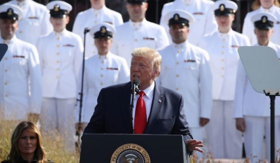 President Donald Trump speaks during a 911 memorial ceremony at the Pentagon to commemorate the anniversary of the 9/11 terror attacks Sept. 11, 2019, in Arlington, Virginia.