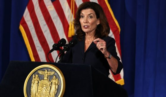 Then-Lt. Gov. Kathy Hochul speaks during a press conference at the New York State Capitol on Aug. 11, in Albany City, New York.