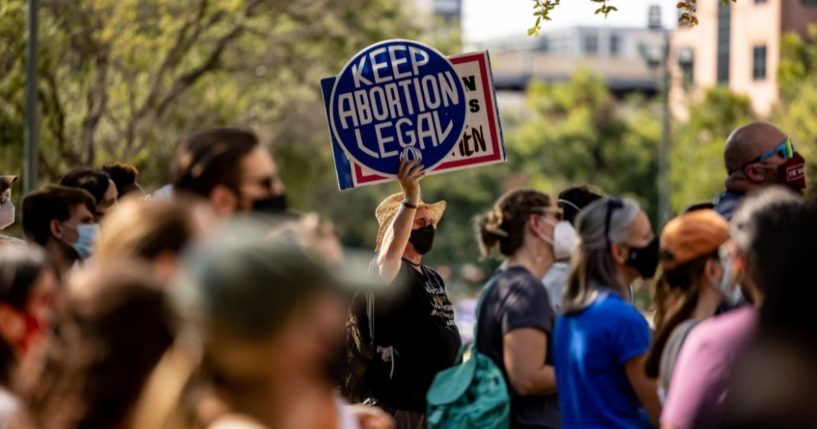 Abortion activists are seen outside the Texas State Capitol in Austin, Texas, on Sept. 11, 2021.