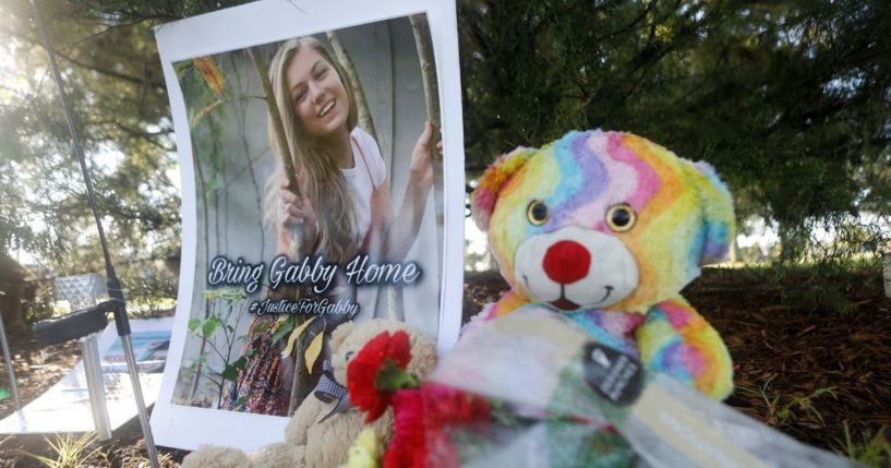 A makeshift memorial dedicated to Gabby Petito is located near City Hall on Monday, in North Port, Florida.
