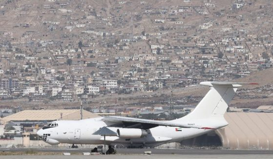 A plane coming from the United Arab Emirates carrying medical aid arrives at the airport in Kabul on Sept. 15, 2021.
