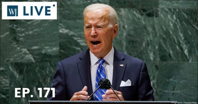 President Joe Biden addresses the 76th Session of the U.N. General Assembly on Tuesday at U.N. headquarters in New York City.