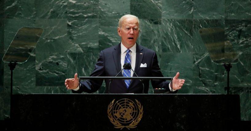 President Joe Biden addresses the United Nations on Sept. 21, 2021 in New York City.