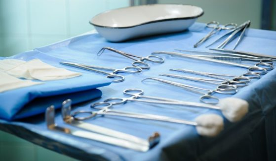 medical instruments prepared for surgery