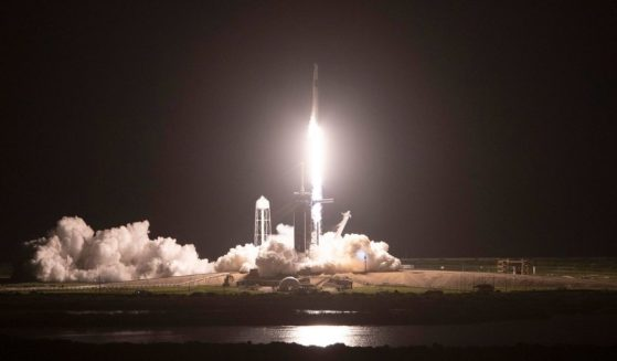 The SpaceX Falcon 9 rocket and Crew Dragon capsule lift off at NASA's Kennedy Space Center on Wednesday in Cape Canaveral, Florida.
