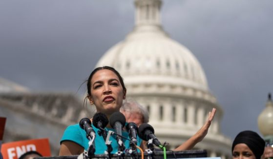 New York Democrat Rep. Alexandria Ocasio-Cortez, seen speaking at the Capitol Sept. 21, is using some creative math in claiming that the Jan. 6 incursion claimed 'almost 10' lives.