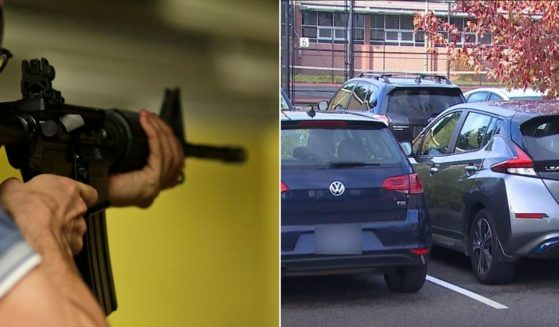 A man with an AR-15 rifle, left, threatened students in the parking lot at Ingraham High School in Seattle, right.