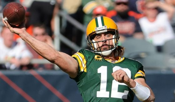 Aaron Rodgers of the Green Bay Packers throws a pass in a game against the Chicago Bears at Soldier Field on Sunday in Chicago.