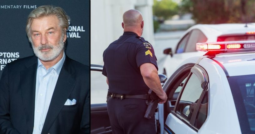 Alec Baldwin, left, attends a premiere at Hamptons International Film Festival on Oct. 7 in East Hampton, New York. A police officer is seen in the stock image on the right.