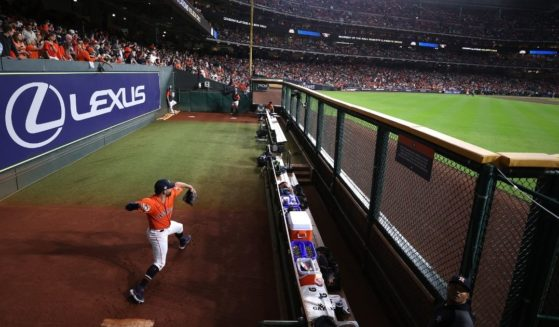 Jose Urquidy of the Houston Astros warms up in the bullpen prior to Game 2 of the World Series against the Atlanta Braves at Minute Maid Park on Wednesday.